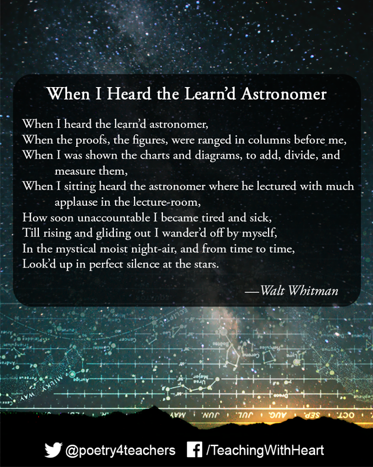 """an examination of the poem when i heard the learnd astronomer In the poem, the speaker attempts  with which statement would both walt whitman and the speaker of """"when i heard the learn'd astronomer  or the examination."""