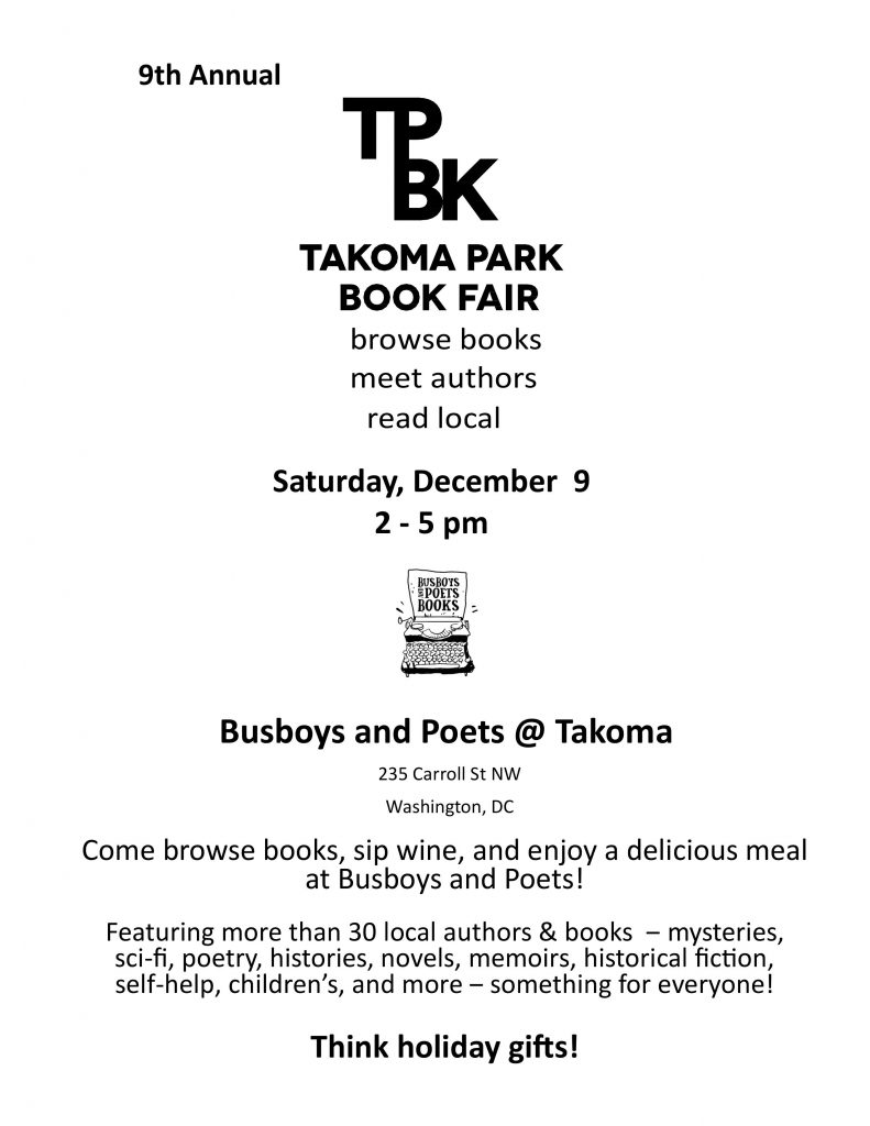 Flyer-describing-Takoma Park Book Fair
