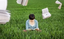 woman field reading book, books flying in the air