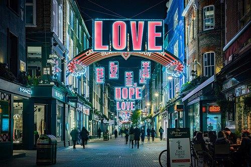 Street scene, love banners, #Mindfulness Mondays